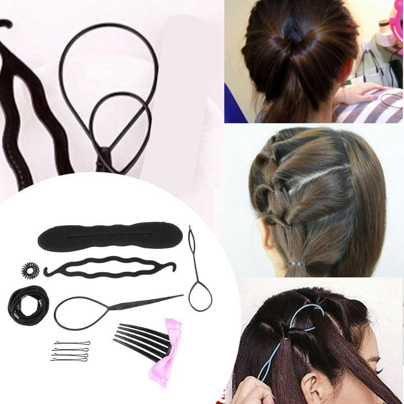 Hair Accessories Braider Hair Clips For Women Rubber Band Rope Tie Hair Bun Makers Hairpins Headbands Twist Curler Styling