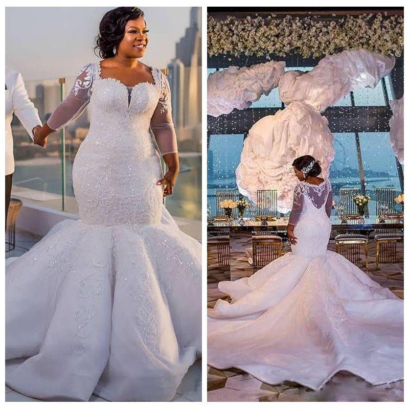 c336c31e539 2018 South Africa Mermaid Wedding Dress Quarter Sheer Long Sleeves Bridal  Gown Custom Made Plus Size Mermaid Lace Appliques Slim Custom Pretty Mermaid  ...