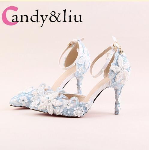6ff6e8d34a4 Compre Zapatos De Encaje Azul Flor Novia Blanco Perla Diamante Zapatos De  Boda Señaló Sandalias De Tacón Alto Conjunto De Zapatos Zapatos De Color  Rosa ...