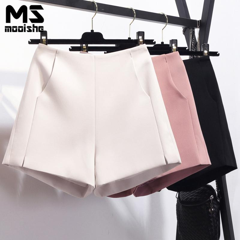 eb084a7763 2019 Mooishe Summer High Waisted Shorts Pocket Boyfriend White/Pink Black  Ladies Short Trousers Bottoms From Buxue, $25.16 | DHgate.Com