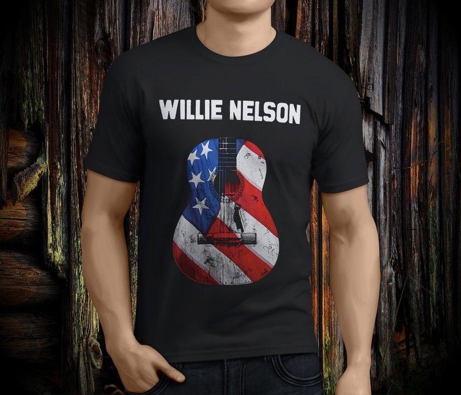 50c1f50a9 Compre Willie Nelson Guitarra Símbolo Da Música Country Legend Black T  Shirt Dos Homens Tamanho S 3XL Mens 2018 Moda Marca T Shirt O Pescoço 100%  Algodão T ...