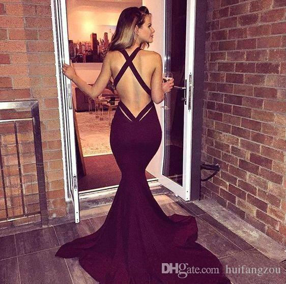 Wine Red Mermaid Prom Dresses Sexy Deep V Neck Sweep Train Evening Gowns Cross Straps Formal Party Dresses