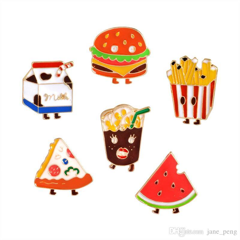 Cartoon Hamburger Cola Fries Milk Pizza Watermelon Cute Food Brooches Pins Small Size Metal Lapel Pins Wholesale Cheap Backpack Badge New