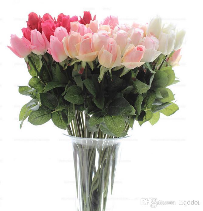 신선한 장미 인공 실크 꽃 진짜 터치는 결혼식 파티 또는 생일을위한 꽃 홈 데코레이션을 장미