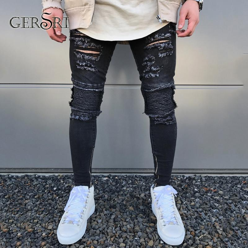 Gersri New Black Ripped Jeans Men With Holes Denim Super Skinny Brand Fashion Slim Fit Jean Pants Scratched Biker Cool Jeans
