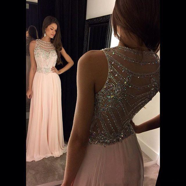 Vestido De Festa Real Photos Prom Dress 2018 O-Neck Sleeveless Cover Back Sweep Train Chiffon With Crystal 2018 Evening Dresses