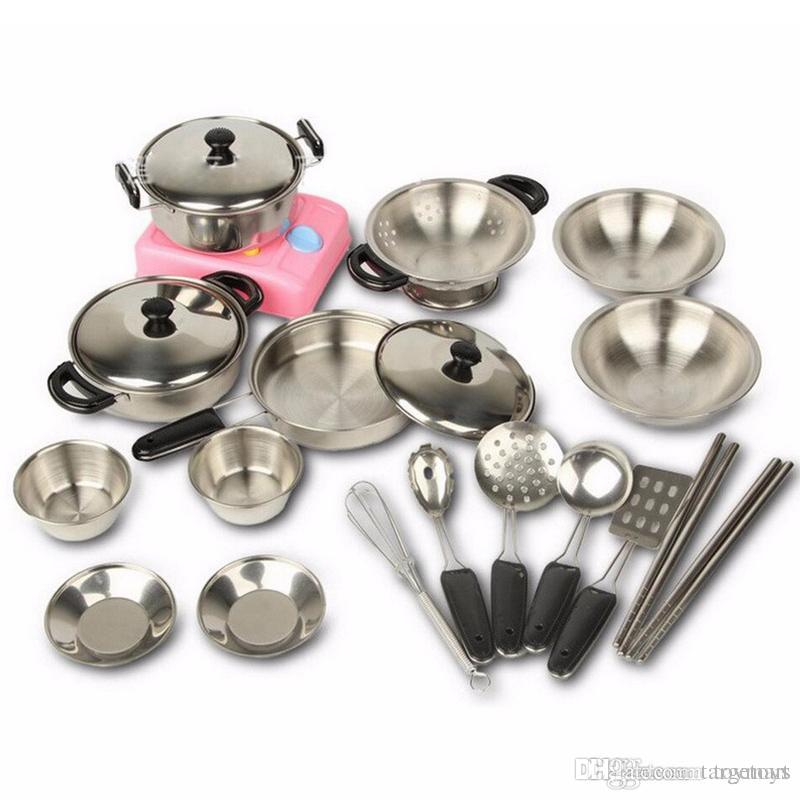 Stainless Steel Pots Pans Cookware Miniature Toy Pretend Play Gift For Kid Children New Years Toys Educational Toys