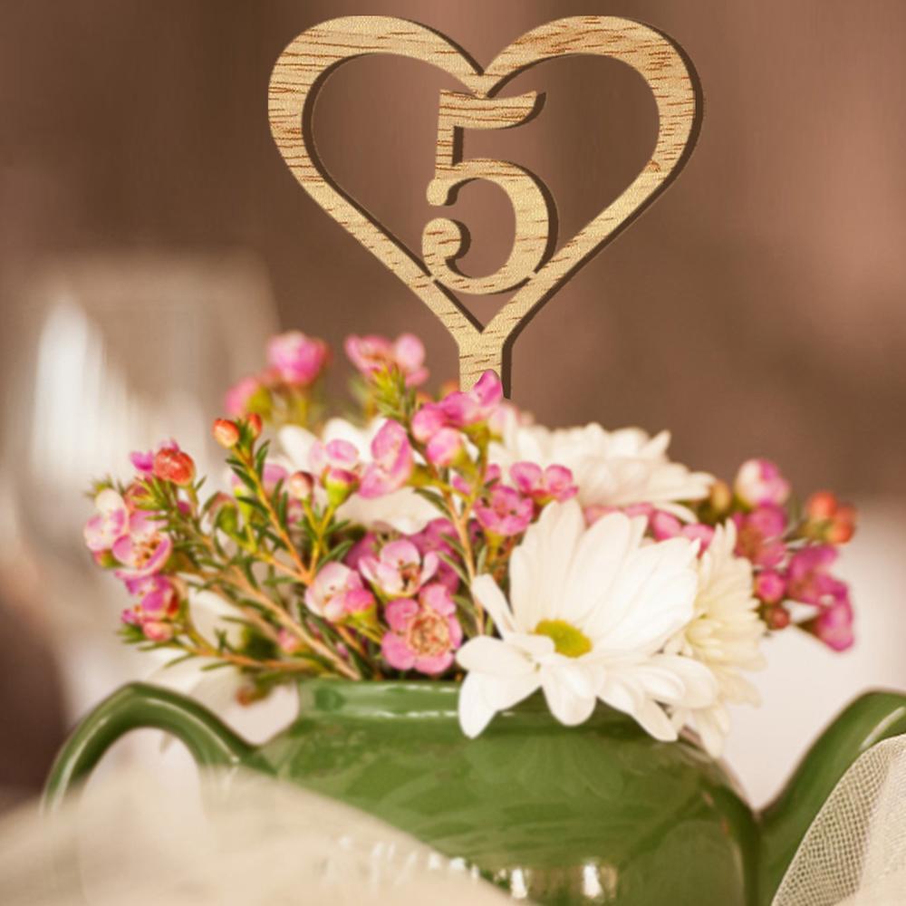 Grosshandel 1 30 Zahlen Herz Holztisch Zeichen Hochzeit Holz Anzahl