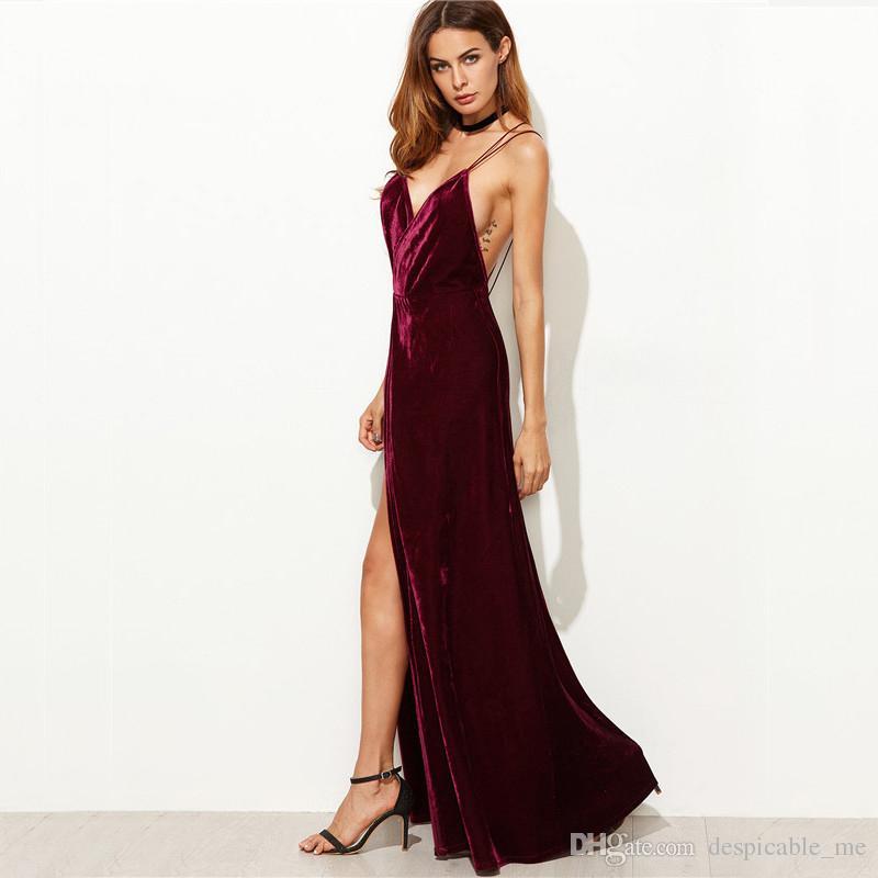 2437369508 Compre Burgundy Velvet Maxi Vestido Sin Espalda Para Mujer Vestidos De  Fiesta De Otoño Con Cuello En V Largo Vestido Elegante Nuevo Vestido De  Tiras Con ...