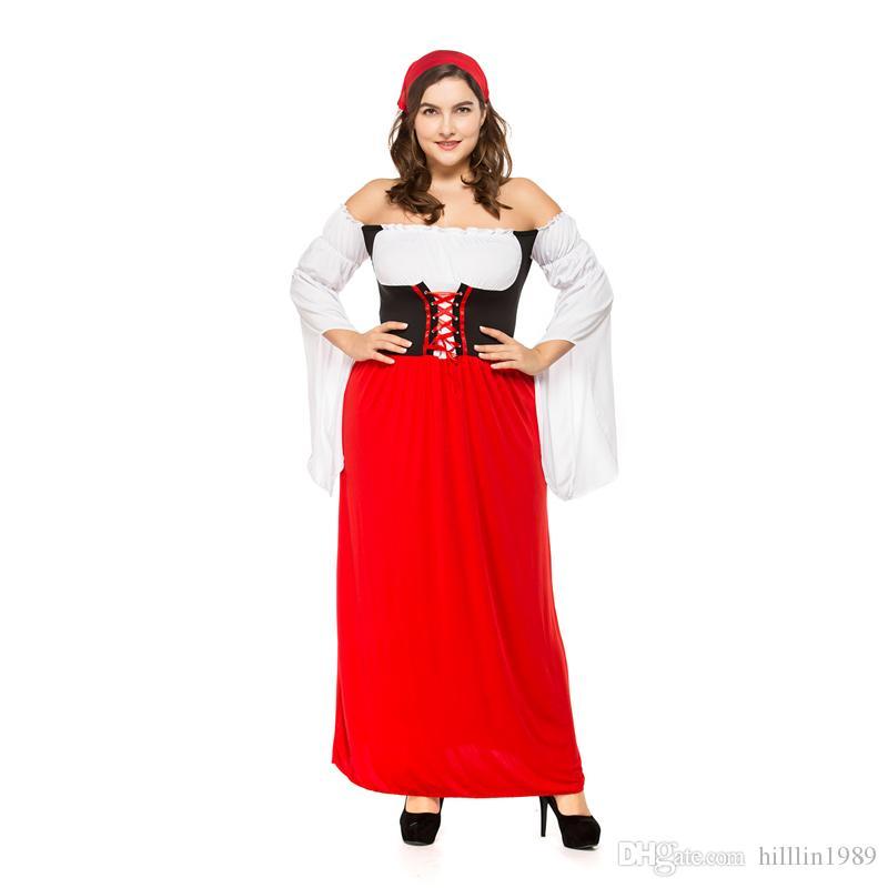 5bf4f8e09061 Acquista Costume Da Birra Rosso Tedesco Vestito Lungo Da Donna Grasso  Adulto Abbigliamento La Carnevale Di Mardi Gras Costume Da Pirata A  19.51  Dal ...