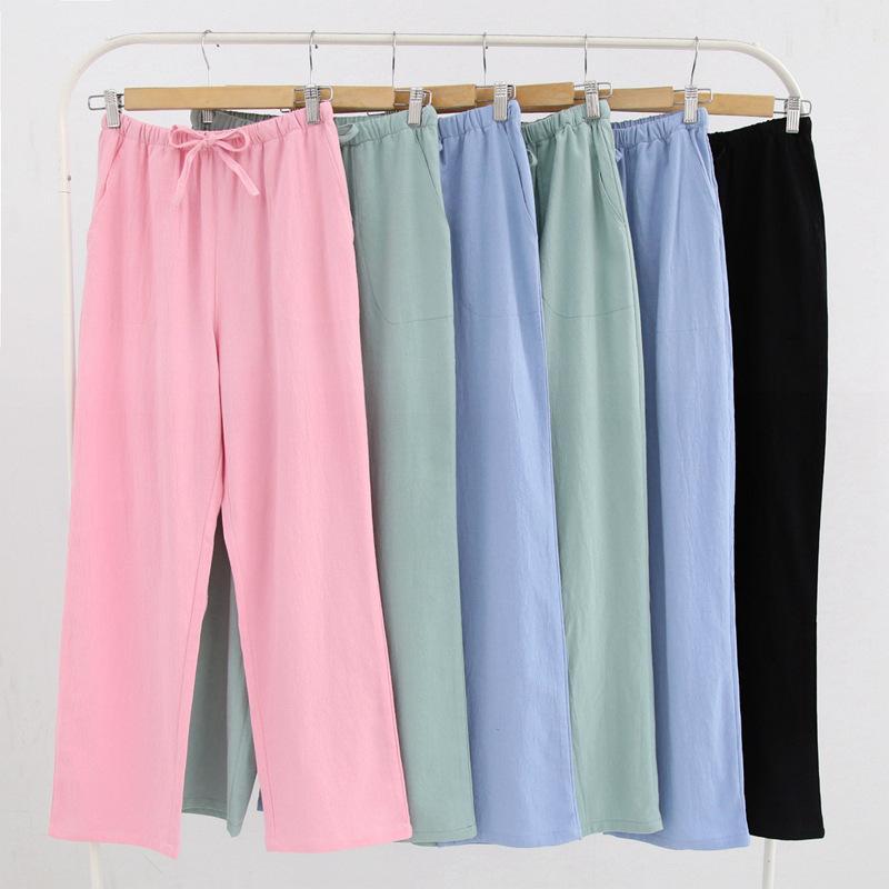 Neue Frühjahr Frauen Schlaf Bottoms Pyjamas Hosen Damen Unterwäsche Hosen Plaid Frauen Lounge Hosen Lose Baumwolle Hause Hose Pijamas Damen-nachtwäsche