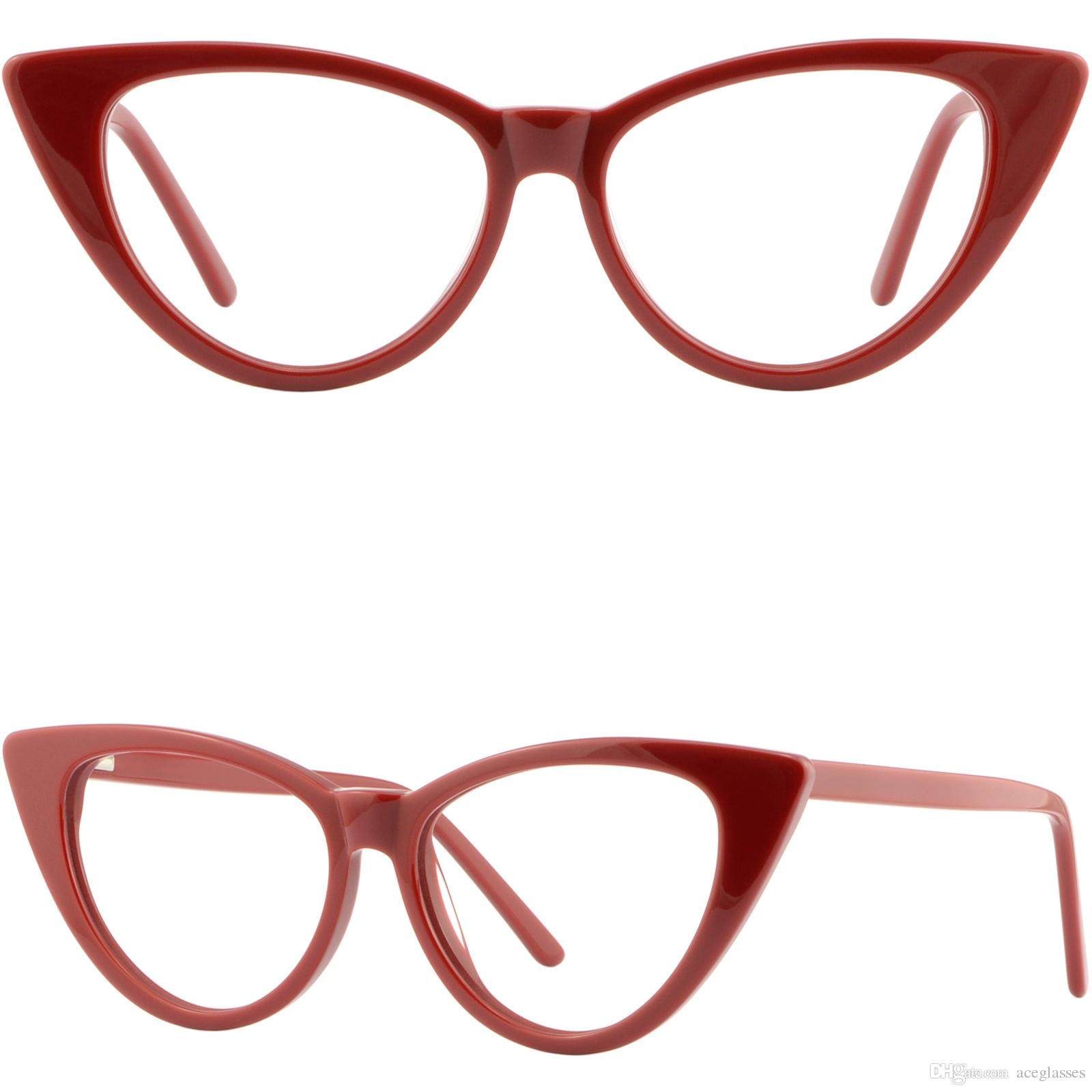 ea16ba8eecf Large Womens Cateye Frame Plastic Spring Hinges Cat Eye Prescription Glasses  Red Women Eyeglasses Frames Brand Name Eyeglass Frames From Aceglasses