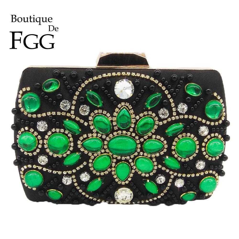 9d187f178f Boutique De FGG Vintage Black   Green Women Beaded Evening Purse Bag ...