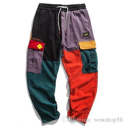 8a9ef95ef16054 Acquista Pantaloni Cargo Patchwork In Velluto A Coste Uomo Pantaloni Cargo  Harem 2018 Pantaloni Cargo In Fagotto Hip Hop Pantaloni Streetwear A $38.58  Dal ...