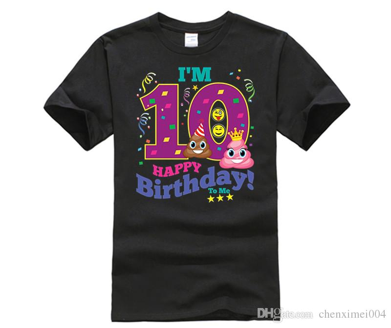 Poop Emoji Happy 10th Birthday Shirt For Boys Girls Gift Crazy Design Shirts Best Tee Sites From Chenximei004 1421