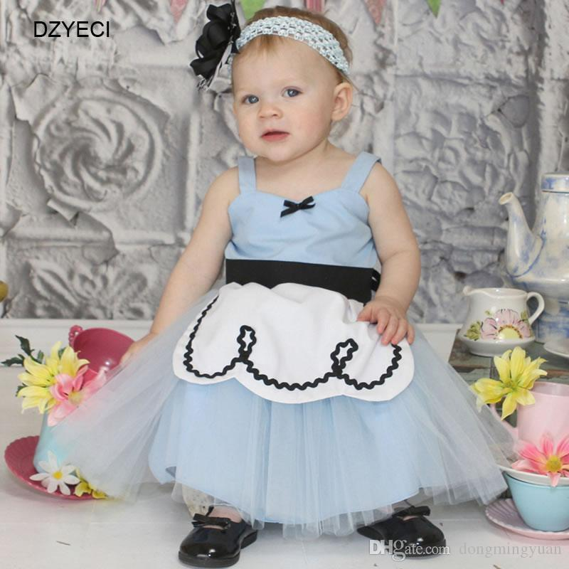 d08510f82d0d Summer Baby Girl Monsoon Gown Ariel Dresses Halloween Costume For Kid Frock  Lace Princess Bow Dress Ceremony Child Party Birthday Clothes Girls  Boutique ...