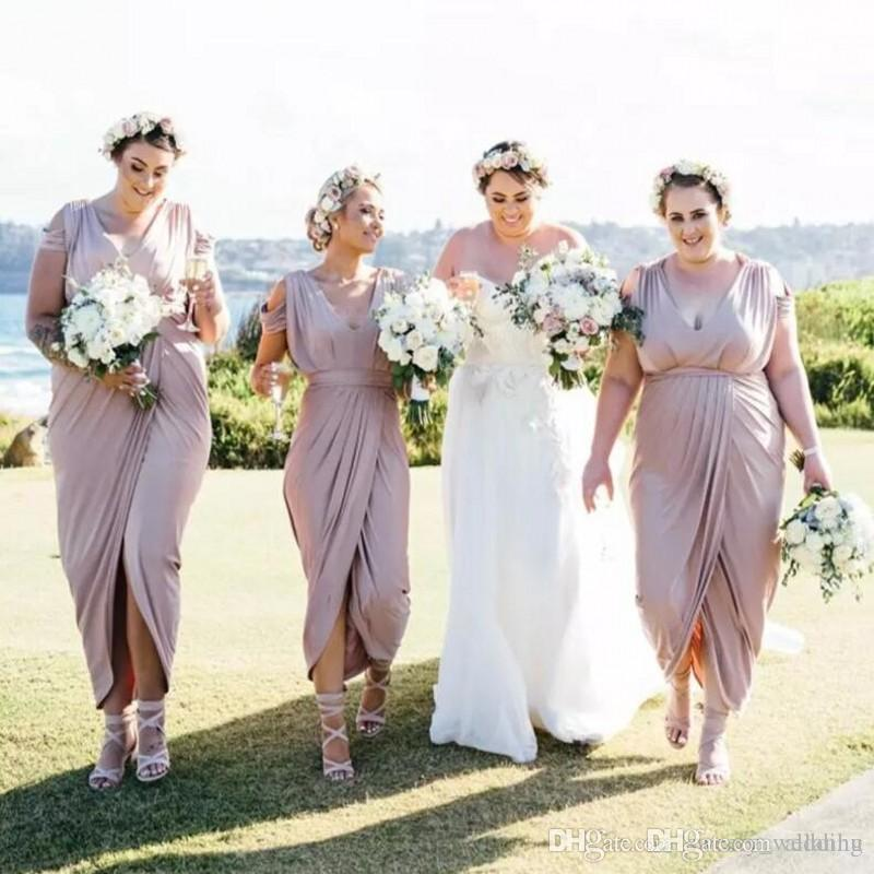 6f87321063c Simple Cheap Blush Pink Plus Size Bridesmaids Dresses Pleated Front Split Ankle  Length Formal Honor Of Maid Dress Sheath Wedding Guest Dress Bridesmaid ...
