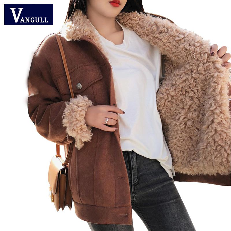 48aef2a947e0f Winter Jacket Thick Fur Wool Liner Coats Women Parkas Fashion Faux Fur  Lined Suede Bomber Jackets Warm Outwear 2018 New VANGULL Leather Bomber  Jacket ...