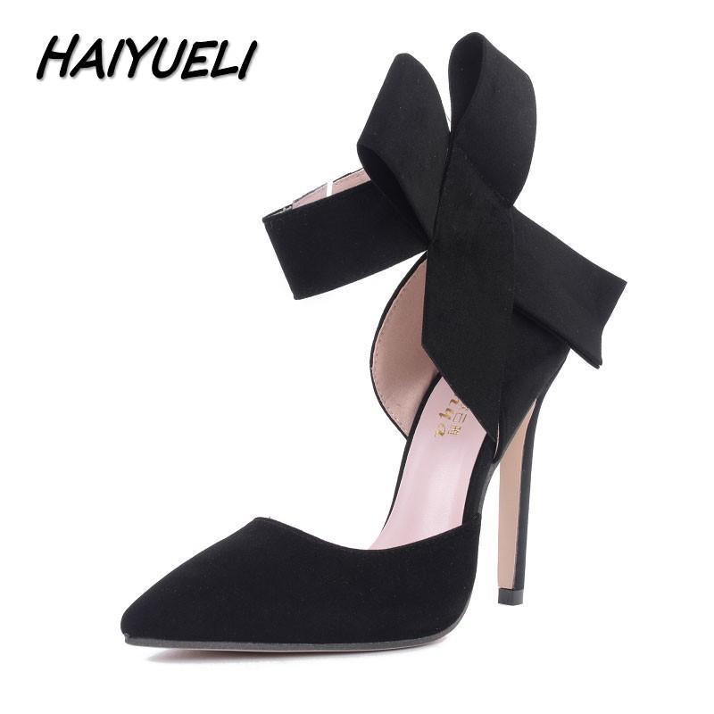 Compre 2019 HAIYUELI Nueva Primavera Verano Moda Sexy Gran Arco Puntiagudo  Tacones Altos Sandalias Zapatos Mujer Damas Boda Fiesta Bombas Vestido  Zapato ... ce19dae9a664