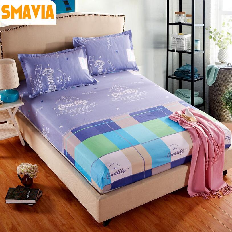 SMAVIA Hot Sale Printed Bed Sheet Set 100% Polyester Bed Fitted Sheet  Protection Mattress Covers With 2 Pillowcase 120/150/180CM Mattress Cover  Mattress ...