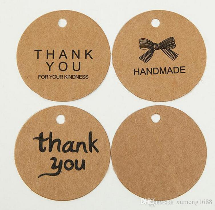 1b41b76f10c9 100Pcs/Lot DIY Kraft Paper Gift Tags - Brown Round Packing Label Wedding  Note Price Hang Tag For Jewelry/Gift/Flower DIY Handmade
