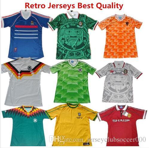 Compre 1988 1990 1994 Alemanha Retro México França ZIDANE Argentina Brasil  Camisas De Futebol Casa Fora Camisa De Futebol Uniformes De Futebol De ... 6961931bbf69a