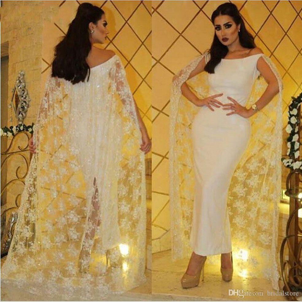 c139c88485c Arabic Dubai Prom Dresses With Lace Cape Ankle Length Sexy Back Split Formal  Party Dress Evening Wear Off Shoulder Boat Neck Cowl Cocktail Lace Long  Dress ...