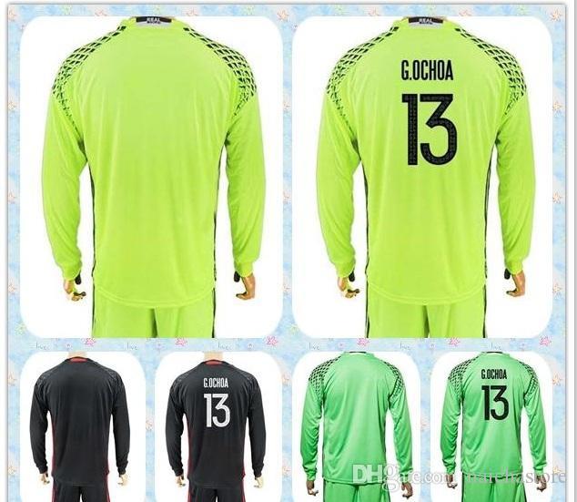 2019 Top Fast Uniforms Kit 2017 2018 Soccer Jersey Mexico  13 OCHOA  1 G. OCHOA Goalkeeper Dark Green Black Yellow Long Sleeve Jerseys From  Naichastore 868efe6d0