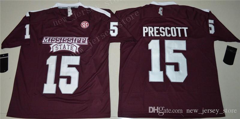 newest 67481 5febc NCAA Men 15 Dak Prescott Jersey College Football Mississippi State Bulldogs  Jerseys Cheap Maroon Red SEC Embroidery University Size S-3XL