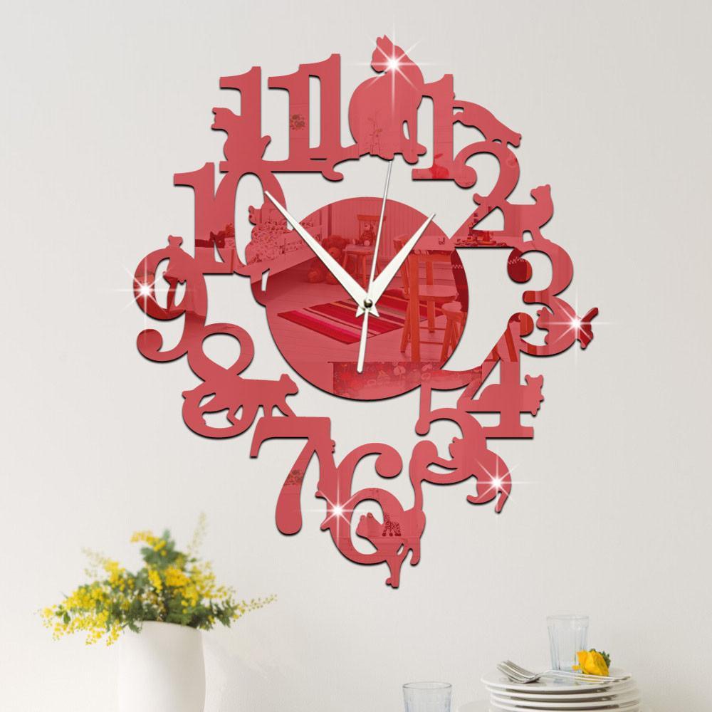 Einzigartige Katze Spiegel Red Wanduhr Modern Design Home Decor Uhr  Wandaufkleber Spiegel Aufkleber DIY Wohnzimmer Dekor versandkostenfrei