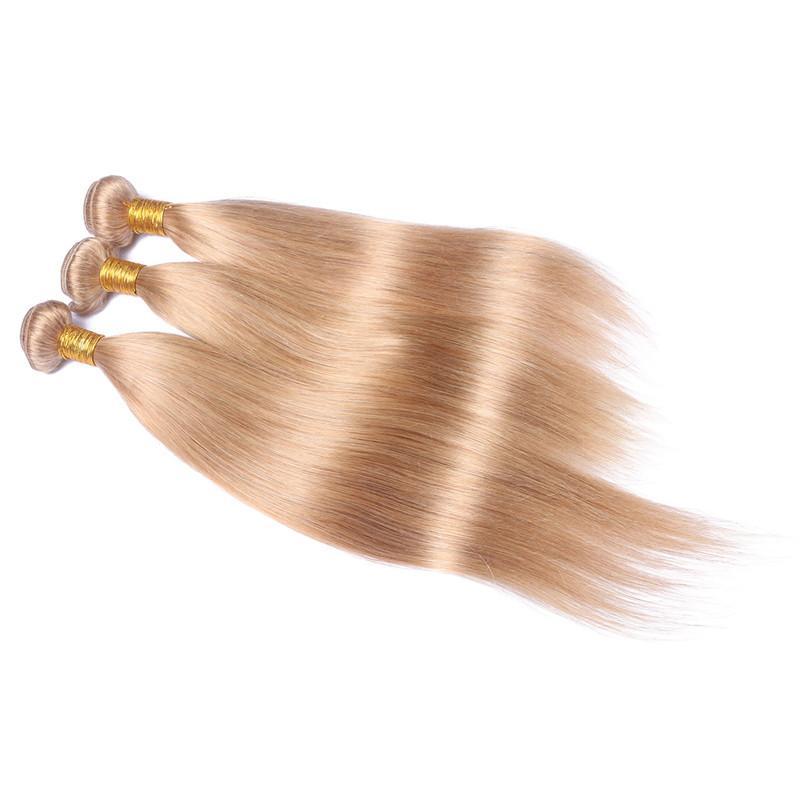 Honey Blonde 3 Ofertas de paquete con frontales completos Recto # 27 Brasileño Strawberry Blonde El cabello humano teje con 13x4 encaje de cierre frontal