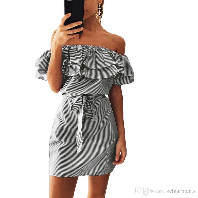 2018 Sommer Mode Frauen Neue Gestreifte Kleider Sexy Rüschen Mini Kleid Casual Style Bequeme Hübsche Gürtel Frauen Kleidung