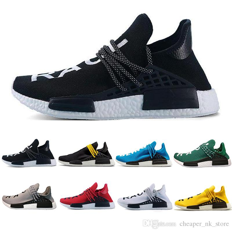 4c1e8bcbbb479 Cheap New Human Race Trail Running Shoes Men Women Pharrell Williams HU  Runner Yellow Black White Red Green Grey Blue Sports Brand Sneakers Flat  Shoes ...