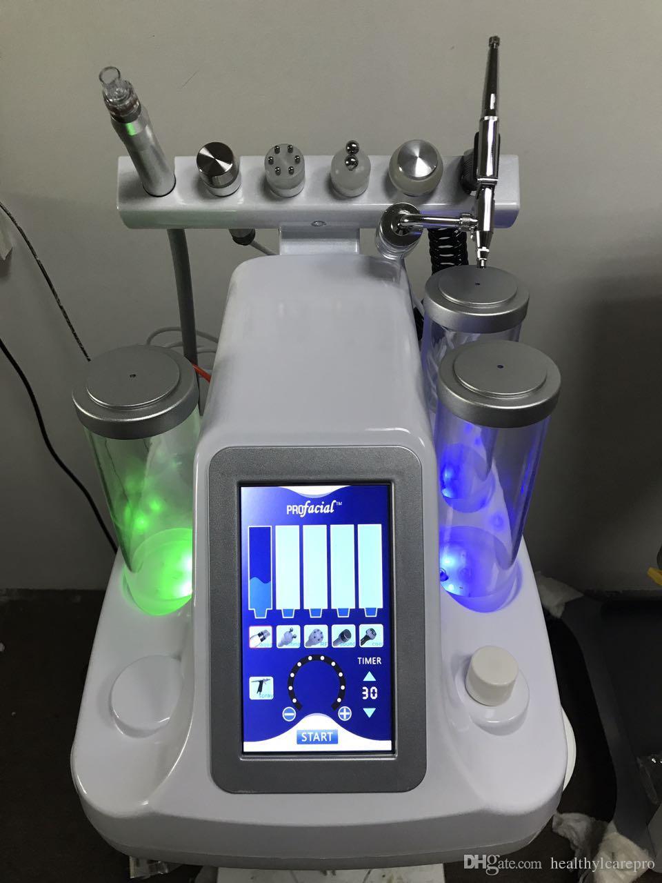 NEW 6 In 1 진공면 세정 Hydro Dermabrasion 물 산소 제트 필링 기계 진공 세제 클리너 얼굴 미용 장비