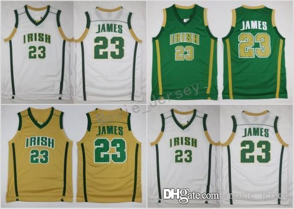 buy popular 6add4 a018e Mens St. Vincent Mary High School Irish 23 LeBron James Jerseys Basketball  Shirt Green White LeBron James Stitched Jerseys S-XXl