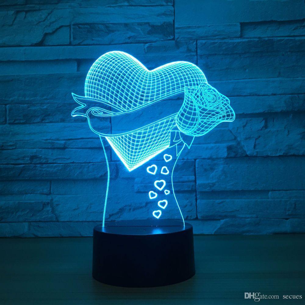 Heart Rose 3D Optical Illusion Lamp Night Light DC 5V USB Powered Battery Wholesale Dropshipping