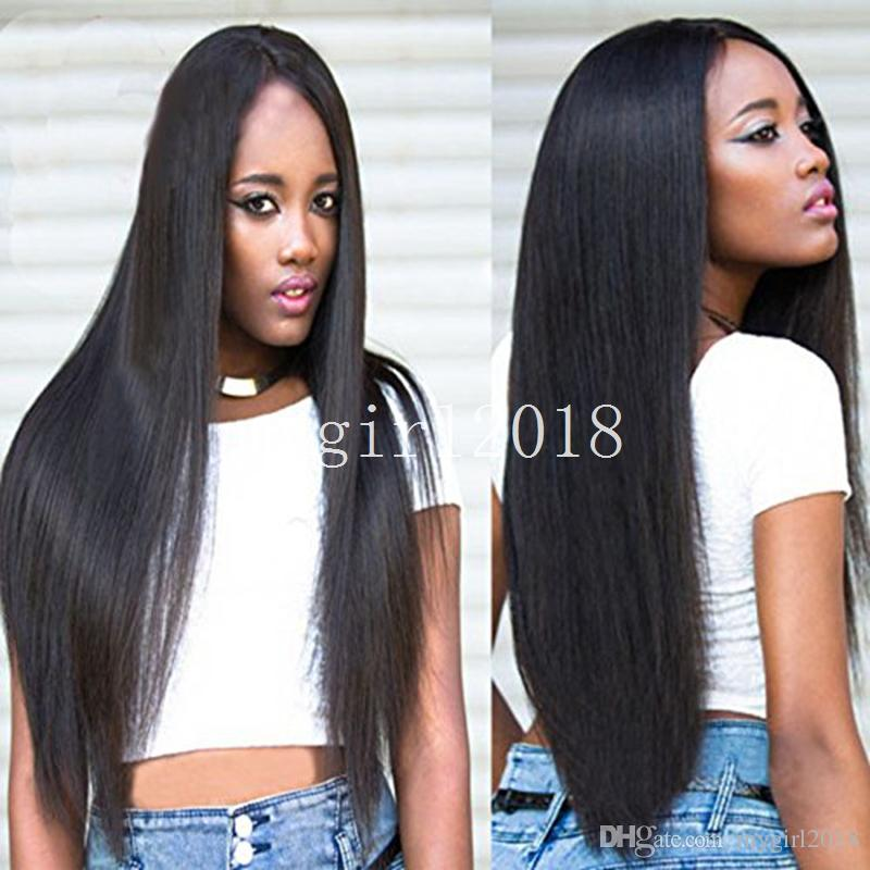 Cheap Yaki Kinky Straight Synthetic Front Lace Wig with baby hair Natural Black Yaki Synthetic Glueless Front Lace Wigs for Black Woman