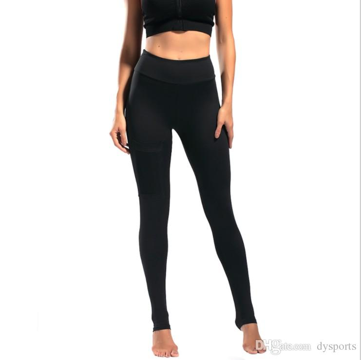 c6f37b20513bcc 2019 Women Yoga Pants With Pocket High Elastic Running Trouser Fitness Leggings  Tights Slim High Waist Gym Pants Solid From Dysports, $12.19 | DHgate.Com