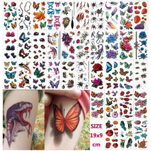6c69d5f33 Wholesale 10 Pcs Lot 190x90mm 3D Temporary Tattoos Flowers Rose Waterproof  Body Art DIY Stickers Women's Glitter Tattoo Arm Chest N3DLOT2