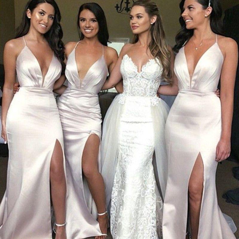 Long Mermaid Split Bridesmaid Dresses Sexy Deep V Neck