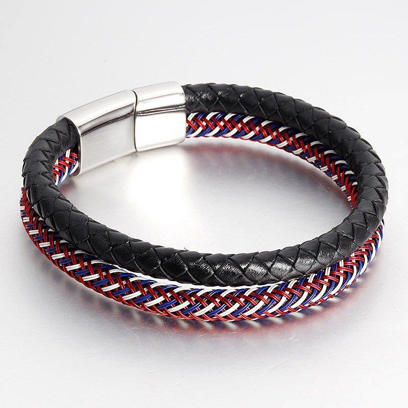New Genuine Leather Men Bracelets Bangles Stainless Steel Weave Bracelet For Women Vintage Mens Jewelry Rope Pulsera Hombre Bracelets & Bangles Charm Bracelets