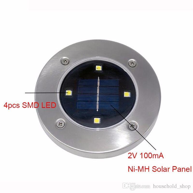Solar Powered 2018 New Trend 4 LED Lámpara de suelo para exteriores Luz enterrada impermeable Decoración de jardín Lámpara de iluminación subterránea