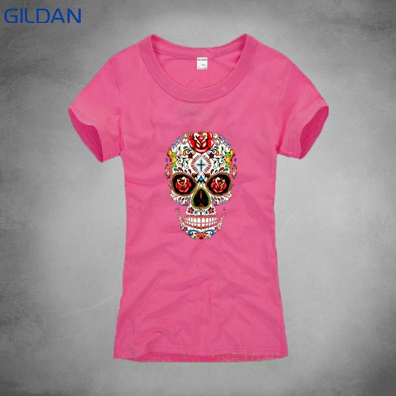 8789fd886bd37a Sugar Skull Printed T Shirt Lady 2018 Summer Printing Tshirt Hip Hop Funny T  Shirt Lady Sexy Pink Shirt Women Awesome Shirt Designs Funny Slogan T Shirts  ...