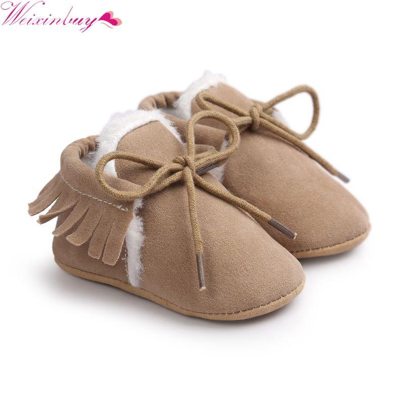 Winter Baby Shoes Moccasins Infant Soft Moccs Shoes First Walkers Fringe  Soled PU Leather Prewalker Non Slip Footwear Crib Shoe UK 2019 From  Friendhi f2a9d8242da0