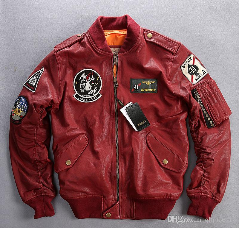 4bb641723 FIGHTING 41 red AVIREXFLY genuine leather jackets with Applique baseball  suit Flocking sheepskin leather flight bomber jacket