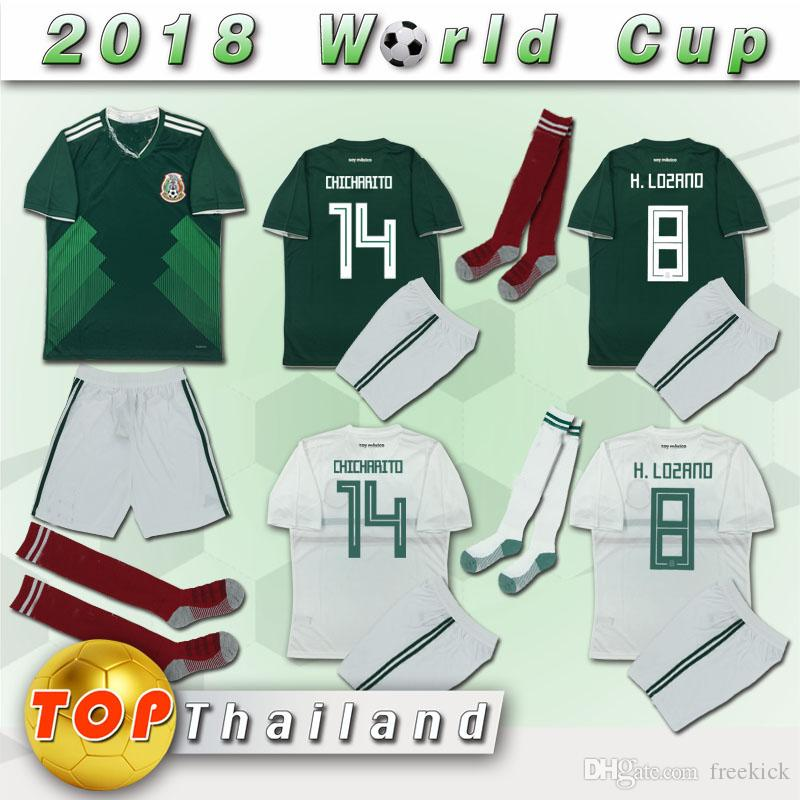 b1324d529378f 2019 DHL 2018 World Cup Mexico Home Green And Away White Complete Kit  Chicharito Include Shirt And Short And Socks Customized 8 From Freekick, ...