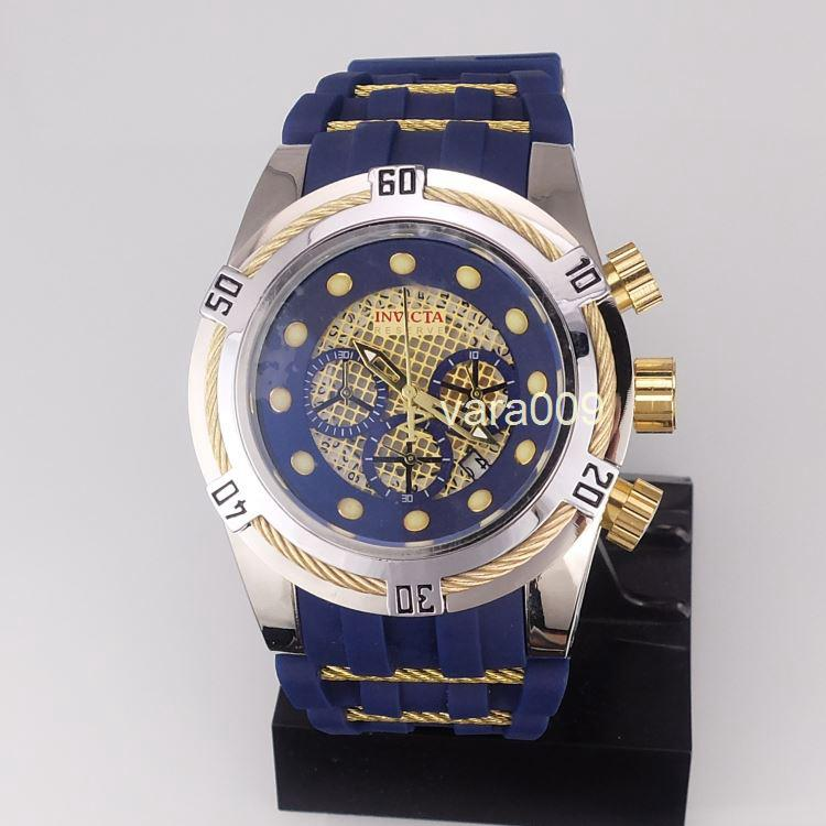 Invicta Best Halloween Men Birthday Gift Quality 52mm Big Dials Luxury Styles Mens Blue Color Watches Quartz Watch Material Silicone Straps Wrist