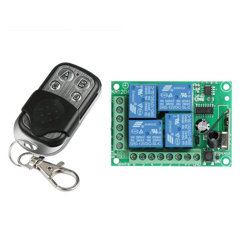 12084de08a4 433Mhz Universal Wireless Remote Control Switch DC12V 4CH Relay Receiver  Module And 4 Channel RF Remote 433 Mhz Transmitter Remote Wireless Wireless  Remote ...