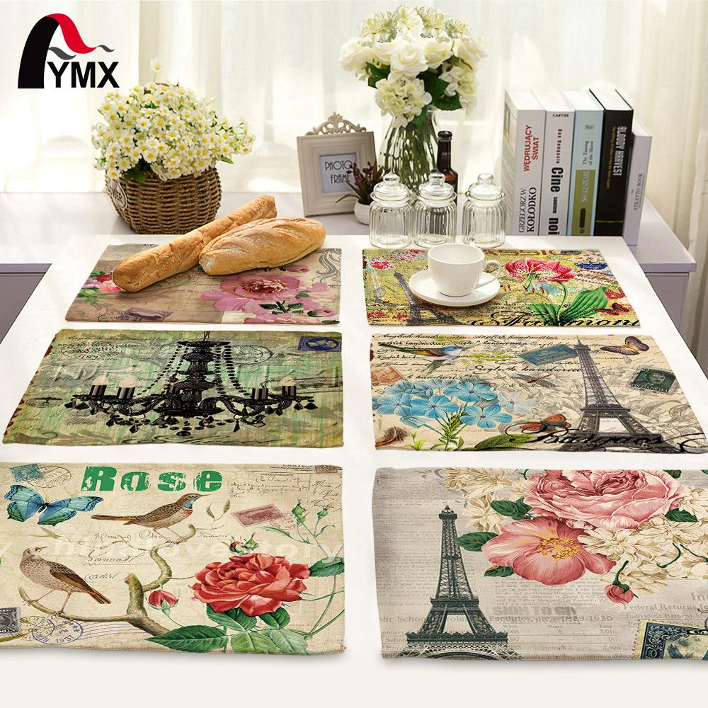 Paris Eiffel Tower Table Napkins for Wedding Polyester Table Napkin Cloth Western Dinner Mat Europe Decor