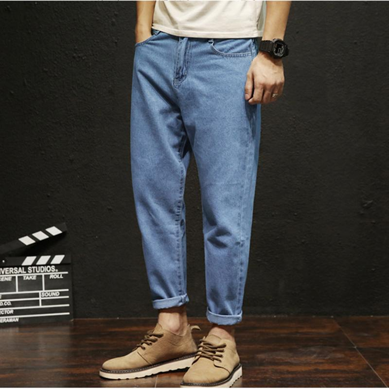 a388b3a2f2 Compre Pantalones Sueltos Para Hombre Pantalones Vaqueros Moda Tobillo  Longitud Algodón Agujero Lápiz Harem Pantalones Para Adolescentes Mediados  De Cintura ...